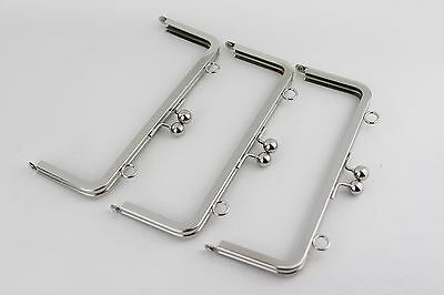 8 x 3 inch - Silver Ball Clasp Metal Purse Frame with O Loops - 10 PIECES