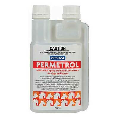 Vetsense Permetrol Concentrate Flea & Tick Spray Rinse For Dogs & Horses 250mL