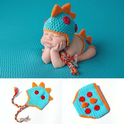 Crocheted Baby Boy Dinosaur Newborn Photography Props Knitted Photo Prop New#