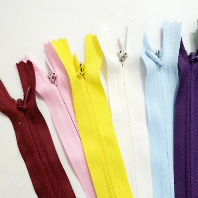 10X Lot Nylon Coil Zipper Concealed Invisible Closed End Zip Tailor Sewing Craft