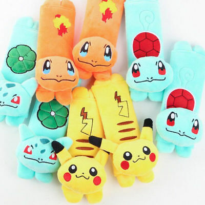 Pokemon Cartoon Car Seat Safety Belt Cover Baby Shoulder Cushion Pad Cases SET