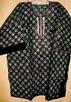 New Unique West African embroidered top batik~tye dye~ Mens~Green Mix