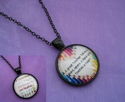 YOU PICK Great Teacher Gift Pendant & Necklace Set Thank you Mentor Present