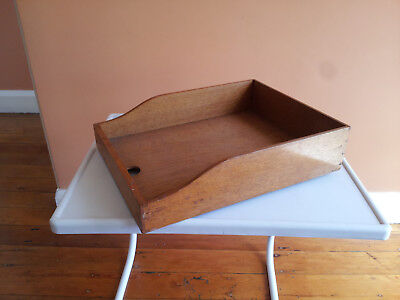 Vintage Wooden Document Tray Industrial Office Paper Sorting