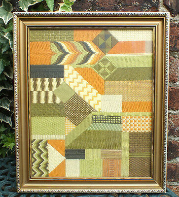 Vintage woolwork tapestry wood framed glazed  Abstract 1960s/70s Midcentury art