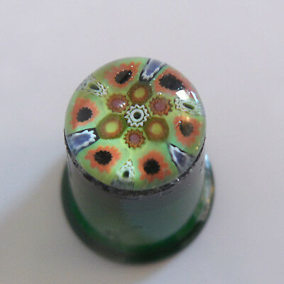 Vintage Millefiori Green Glass Thimble - A/f