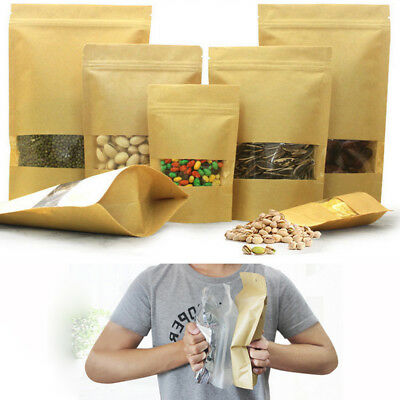 10Pcs Kraft Paper Bag Pouch Stand Up Food Candy Zip Lock Packaging With Window