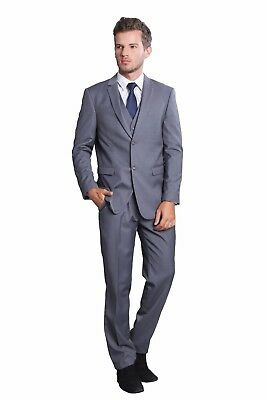 Long Two Button Groomsmen 3 Pieces Suit Tailored Business Vintage Wedding Suits