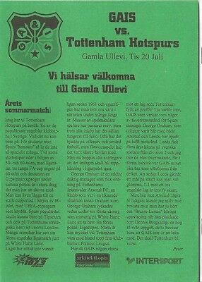 GAIS v TOTTENHAM HOTSPUR  1999      Friendly Match