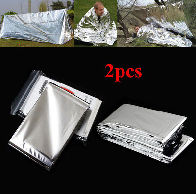 2x Emergency Foil Thermal Blanket Survival Baby Sensory First Aid Camping XA
