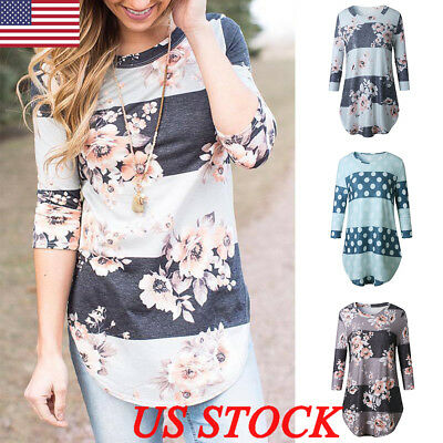 US Womens Fashion Long Sleeve Casual Loose Tops T Shirt Ladies Floral Blouse Top
