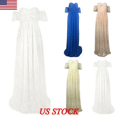 US Pregnant Women Sleeveless Maxi Dress Maternity Gown Photography Props Dress