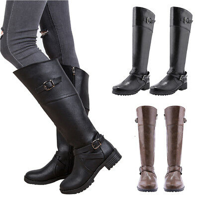 New Ladies Womens Knee High Wide Riding Boots Leg Mid Calf Low Heel Shoes Size
