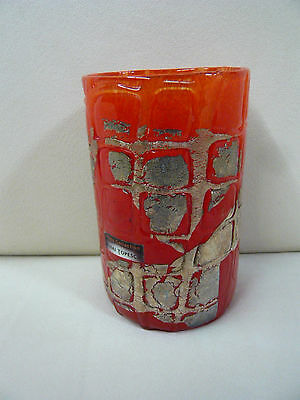 MIHAI TOPESCU GLASS COLLECTION GLAS VASE ROMANIA ROT GOLD H=18cm Ø=10cm SIGNIERT
