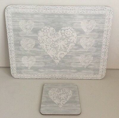 Grey Vintage Heart Placemats & Coasters Cork Backed Set of 6