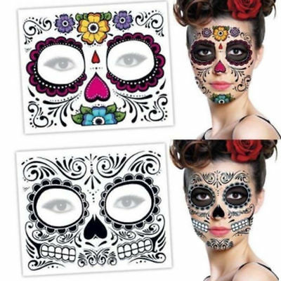 2Pcs DAY OF THE DEAD Skull Face Mask Halloween Temporary Tattoos Design Sticker