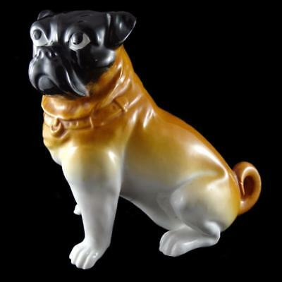 Early Continental Porcelain Pug - probably 19th Century Bavarian - 17.5cm tall