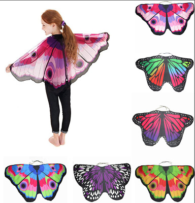 Kids Butterfly Wing Scarf Creative Colorful Cape Shawl Neckerchief Funny Dress