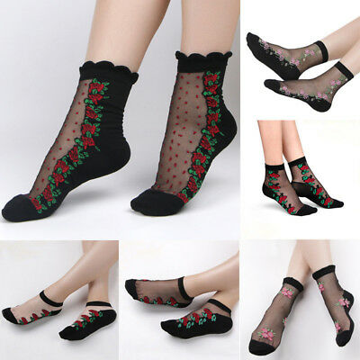 Women Crystal Lace Glass Rose Flower Silk Flower Short Thin Transparent Socks