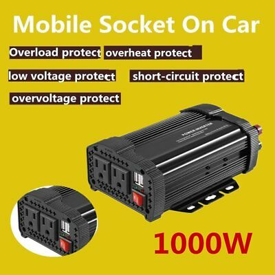 1000W 2000 Watt Peak Power Inverter DC 12V to AC 110V Car Truck USB Charger XP