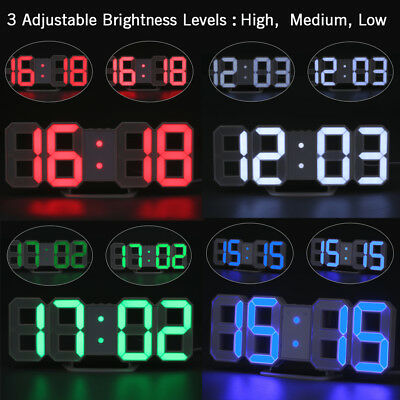 3D Digital LED Table Desk Night Wall Clock Alarm Snooze Clock 24/12 Hour Display