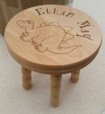 Personalised Wooden Dinosaur Stool as ETHAN MAY