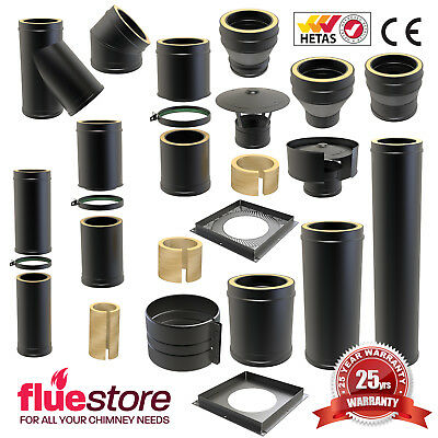 Convesa KC Black Multifuel Twin Wall Insulated Flue Pipe For Wood Burning Stove