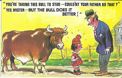 Vintage 1970's Bamforth COMIC Postcard (as new condition) Bull is better #516