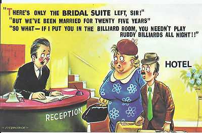 Vintage 1970's Bamforth COMIC Postcard (as new condition) Bridal suite #581