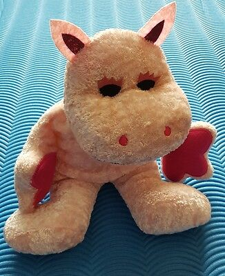 "Retro Rainbow George the pink hippo with tag 12"" plush teddy soft toy"