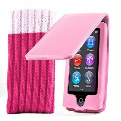Apple iPod Nano 7G 7th Generation Pink Flip Case Cover And Protective Sock New