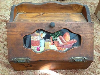 Vintage Wooden Bread Box with Glass Insert Wooden Knob and Metal Hinges