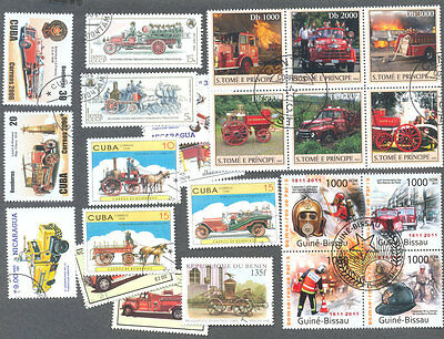 Fire Engines 50 all different collection stamps