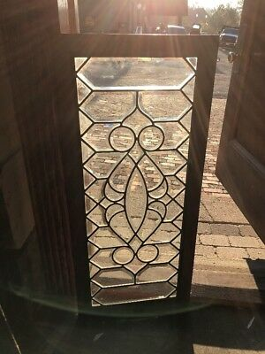 Sg 1555 Antique All Beveled Glass Transom Window Zinc Caning 17.25 X 38.75