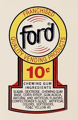 Ford, 10 Cent. Gumball, Vending, Coinop, Water Slide Decal # Df 1002