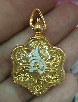 Charming Golden Flower Magic Charm Lucky Pendant Thai Amulet Love Occult Small
