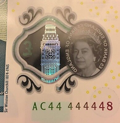 England New £5 Polymer Near Super Solid Number AC44 444448 (nearly 444444)