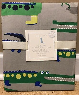 NEW Pottery Barn Kids Alligator TODDLER Duvet GRAY