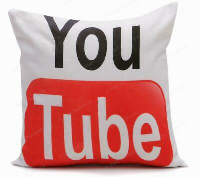 You Tube Red & White 18 inch Cushion Cover. Linen look fabric - Great Gift!