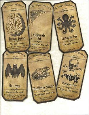 LOT OF~12 Vintage look LABELS~Halloween Apothecary labels~primitive labels