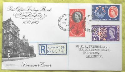 GB FDC - Post Office Savings Bank 1961, Registered Souvenir cover