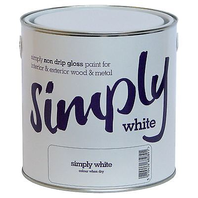 Simply 2.5L White Non Drip Gloss Paint For Wood And Metal Interior And Exterior