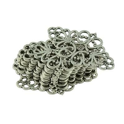 20pcs Antique Silver Filigree Flower Rhombic Charms Pendant Connectors Beads
