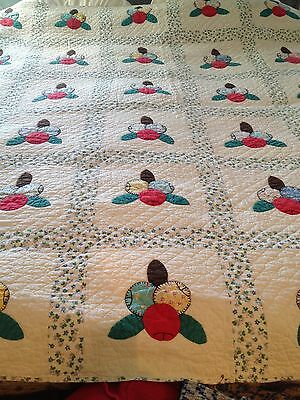 "Vintage Quilt, White Background, With Appliqued Flowers, 82"" X 71"""