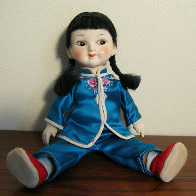 """Vintage Chinese Doll 8 3/4"""" Composition ?"""