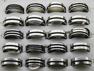 Men's Jewelry 50pcs stainless steel Black Rubber Fashion Rings Jewelry Lots