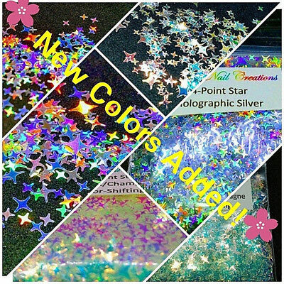 4-POINT STAR Shape Glitter~You Choose~Nail Art•Face•Festival•USA✨