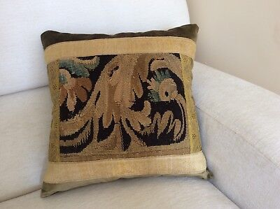 Antique 17th century French tapestry fragment cushion pillow