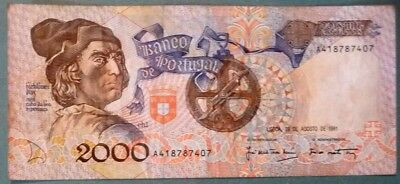 PORTUGAL 2000 2 000  ESCUDOS NOTE ISSUED 29.08. 1991, P 186 b