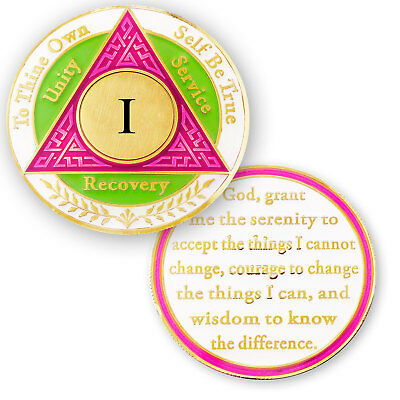 AA coin 1 year, Pink Green White, anniversary recovery alcoholics anonymous